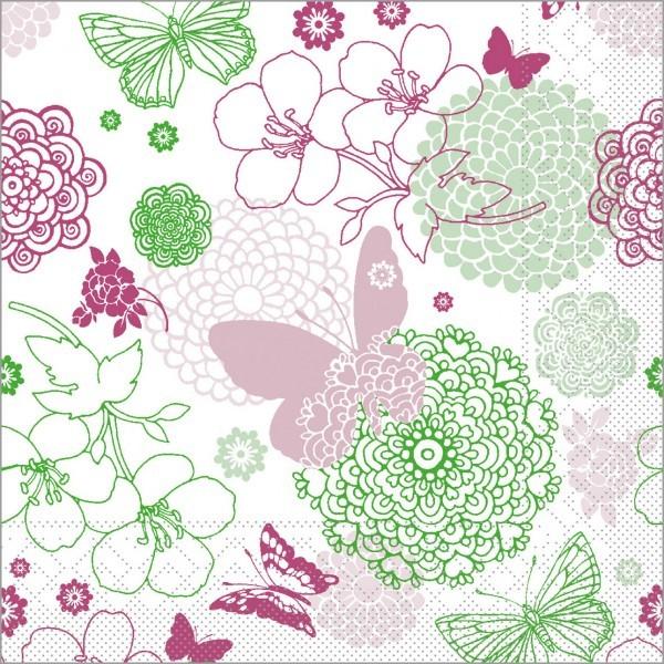 Serviette Luisa in pink-grün aus Tissue 33 x 33 cm, 100 Stück