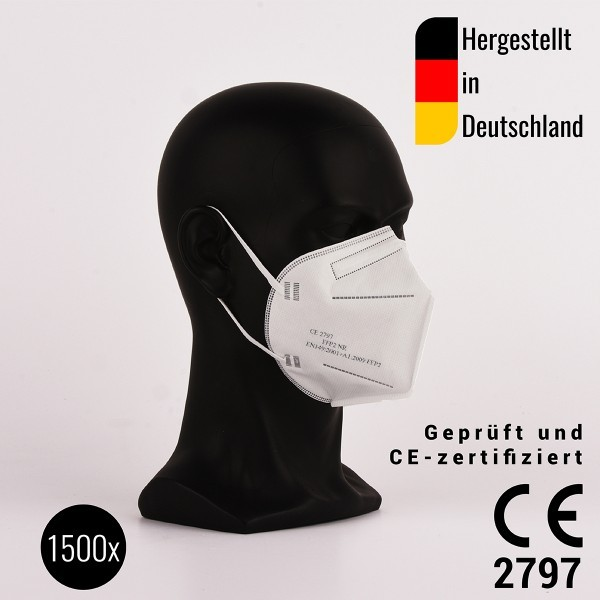 1500 Stück FFP2 Halbmasken, zertifiziert CE2797 - hergestellt in Deutschland - Atemschutzmaske