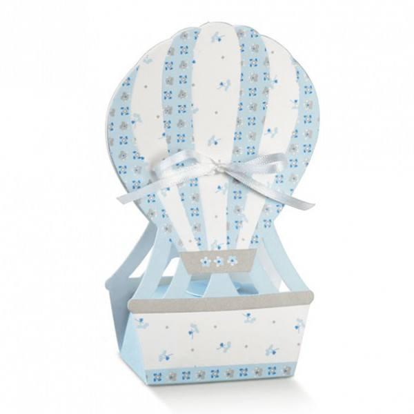 Gastgeschenk Geschenkbox Heißluftballon in Hellblau, 1 Stück