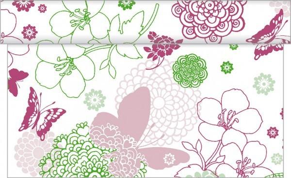 Tischläufer Luisa in Pink-Grün aus Linclass® Airlaid 40 cm x 24 m, 1 Stück
