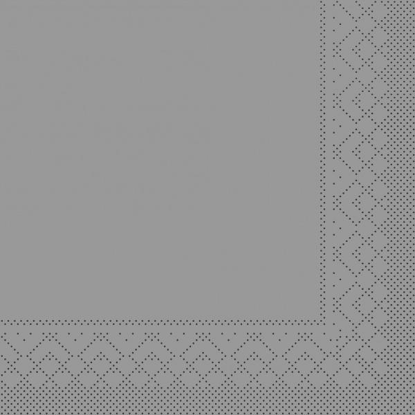 Serviette Silber aus Tissue 33 x 33 cm, 20 Stück
