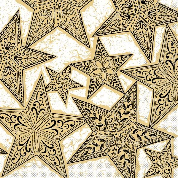 Serviette Gitte in Gold-Schwarz aus Tissue 33 x 33 cm, 100 Stück