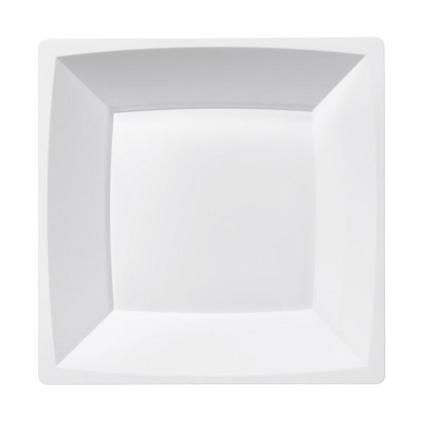 Einweg-Teller MILAN tief aus Plastik, 17,2 x 17,2 cm, Weiss, 12 Stück