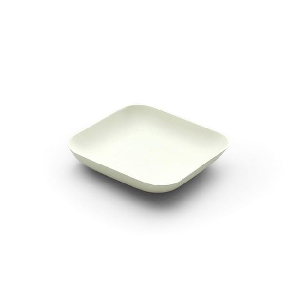 Teller aus Zuckerrohr in Weiss, viereckig, 80 x 80 x h 15 mm, 40 Stück