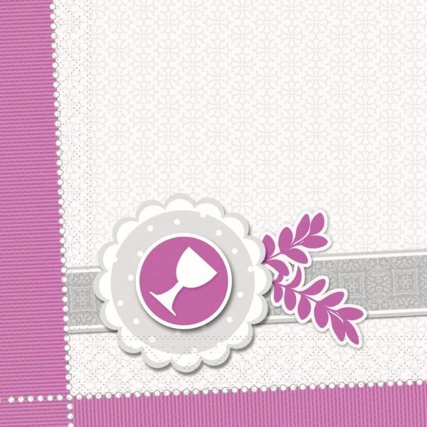 Serviette Kelch-Taube in Pink aus Tissue 33 x 33 cm, 100 Stück