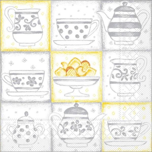 Serviette Cookie in grau aus Tissue 33 x 33 cm, 100 Stück