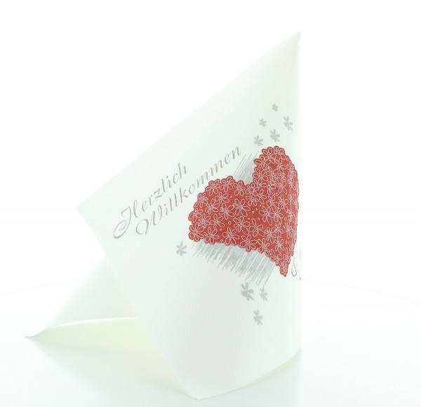 Serviette Herzlich Willkommen in Weiß aus Linclass® Airlaid 40 x 40 cm, 50 Stück
