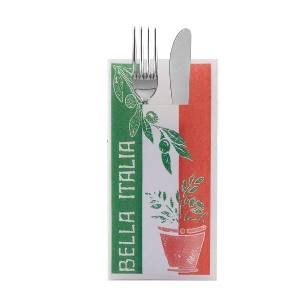 Besteckserviette Bella Italia in grün aus Linclass® Airlaid 40 x 40 cm, 100 Stück