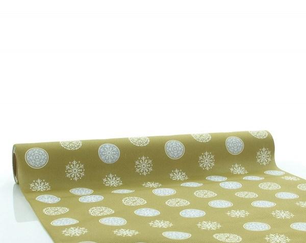 Tischläufer Flocons in Gold-Silber aus Linclass® Airlaid 40cm x 4,80m, 1 Stück