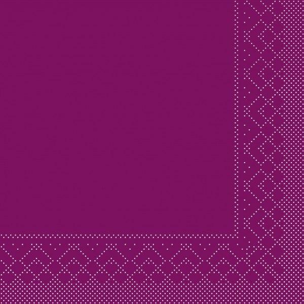 Serviette Aubergine aus Tissue 33 x 33 cm, 20 Stück