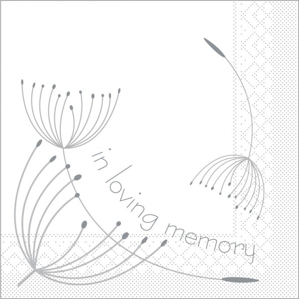 Serviette In Loving Memory in weiß aus Tissue 33 x 33 cm, 100 Stück