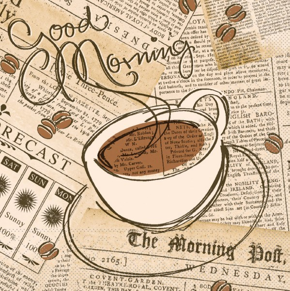 Serviette Good Morning in Braun-Creme aus Tissue 33 x 33 cm, 3-lagig, 100 Stück