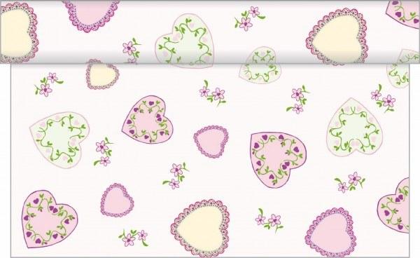 Tischläufer Sweet Love in Rosa aus Linclass® Airlaid 40 cm x 4,80 m, 1 Stück