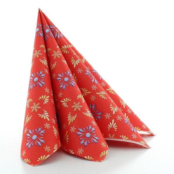 Serviette Scarlett in Rot-Blau aus Linclass® Airlaid 40 x 40 cm, 50 Stück