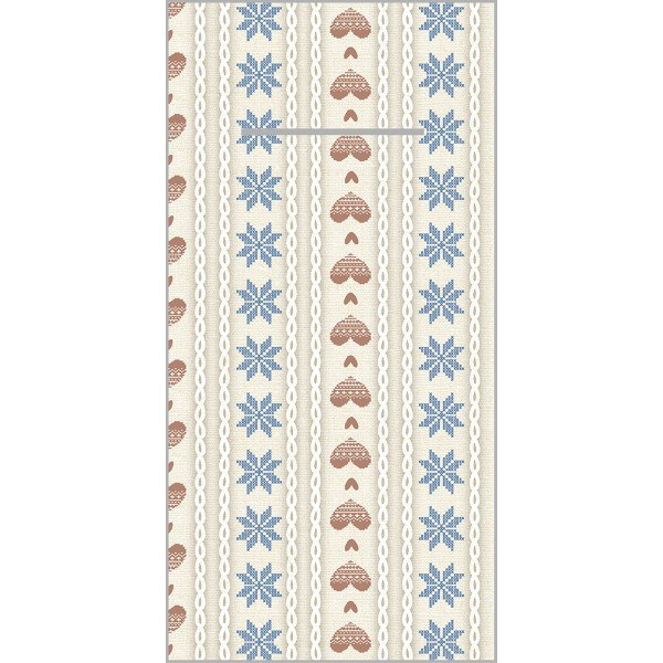 Besteckserviette Trixi in Braun-Blau aus Linclass® Airlaid 40 x 40 cm, 12 Stück