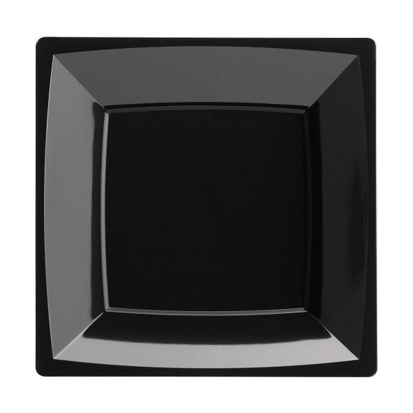 Einweg-Teller MILAN tief aus Plastik, 17,2 x 17,2 cm, Schwarz, 12 Stück