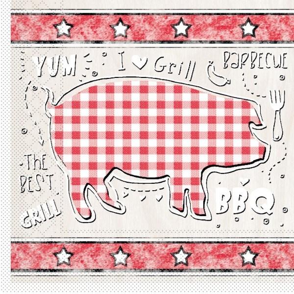 Serviette BBQ-Grillfest in Rot-Beige aus Tissue 33 x 33 cm, 20 Stück