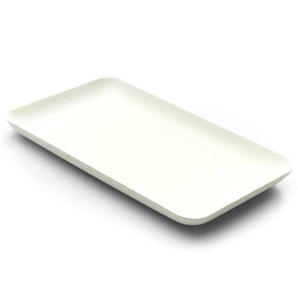 Teller aus Zuckerrohr in Weiss, rechteckig, 200 x 120 x h 15 mm, 40 Stück