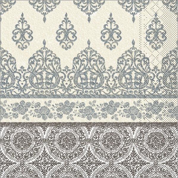 Serviette Madrid in graphit aus Tissue 33 x 33 cm, 100 Stück