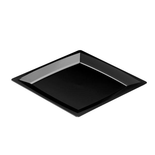 Einweg-Teller MILAN in L aus Plastik, 21 x 21cm, Schwarz, 12 Stück