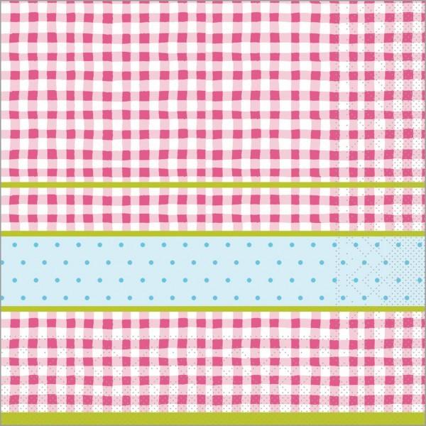 Serviette Vichy in rosa aus Tissue 40 x 40 cm, 100 Stück