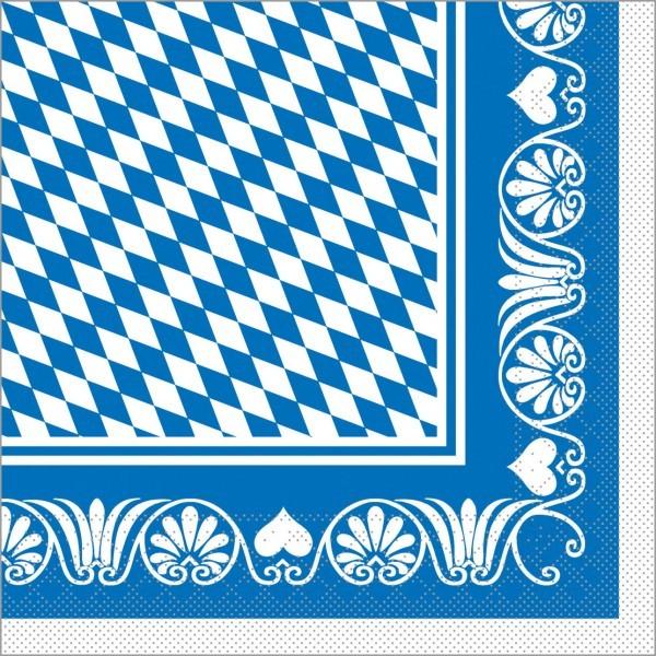 Serviette Bavaria in blau aus Tissue 33 x 33 cm, 100 Stück