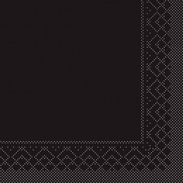 Cocktail-Servietten Schwarz aus Tissue 25 x 25 cm, 100 Stück