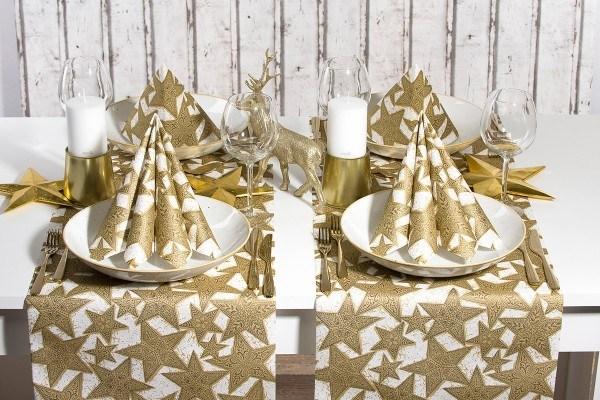 Serviette Gitte in Gold-Schwarz aus Linclass® Airlaid 40 x 40 cm, 50 Stück