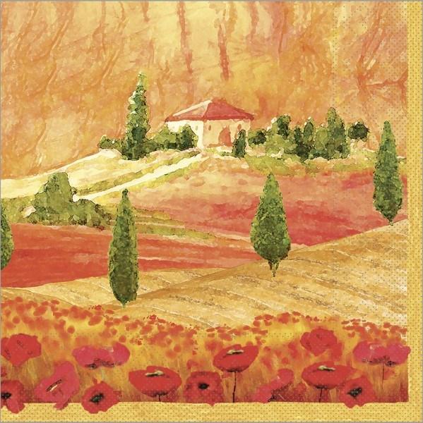 Serviette Lombardia in terrakotta aus Tissue 33 x 33 cm, 100 Stück