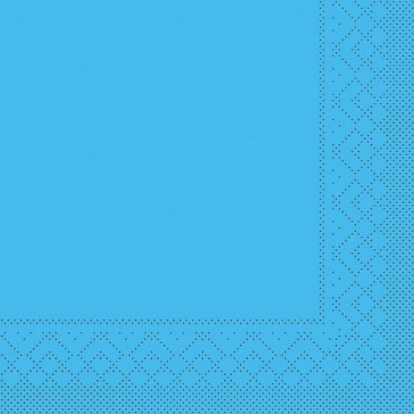 Cocktail-Servietten Aquablau aus Tissue 25 x 25 cm, 100 Stück