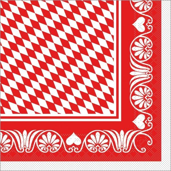Serviette Bavaria in rot aus Tissue 33 x 33 cm, 100 Stück