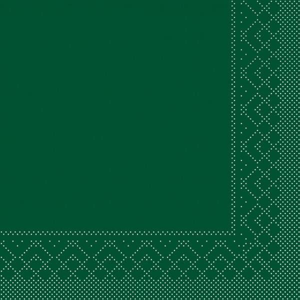 Cocktail-Servietten Dunkelgrün aus Tissue 25 x 25 cm, 100 Stück
