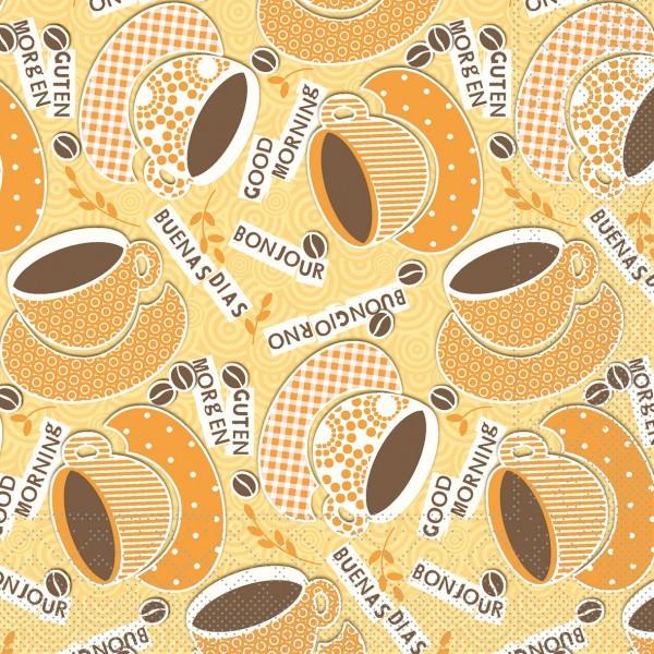 Serviette Kaffee Ole in Gelb-Orange aus Tissue 33 x 33 cm, 3-lagig, 100 Stück