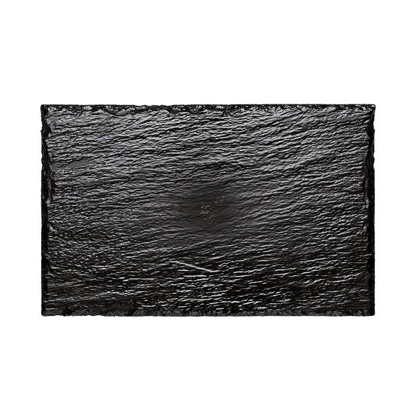 Einweg Servierplatte Schiefer-Optik aus Plastik, schwarz, 10 Stück