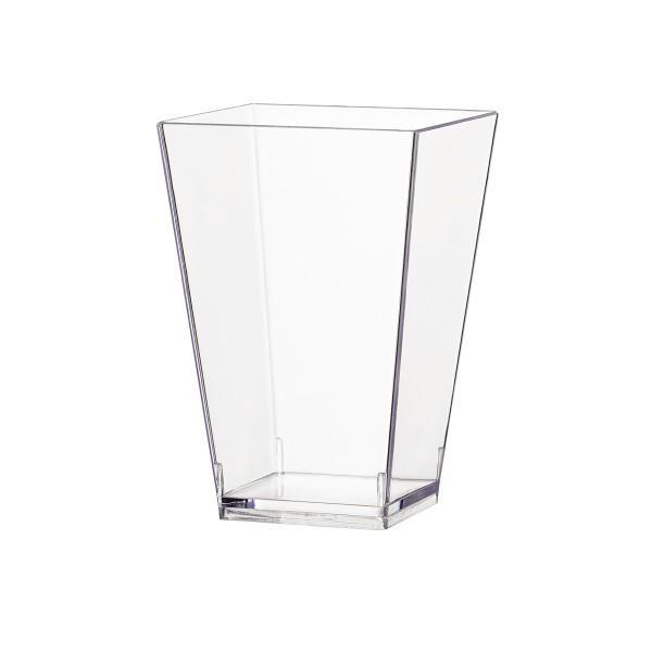 Einweg-Fingerfood Glas aus Plastik, quadratisch, 100 ml, Transparent, 40 Stück