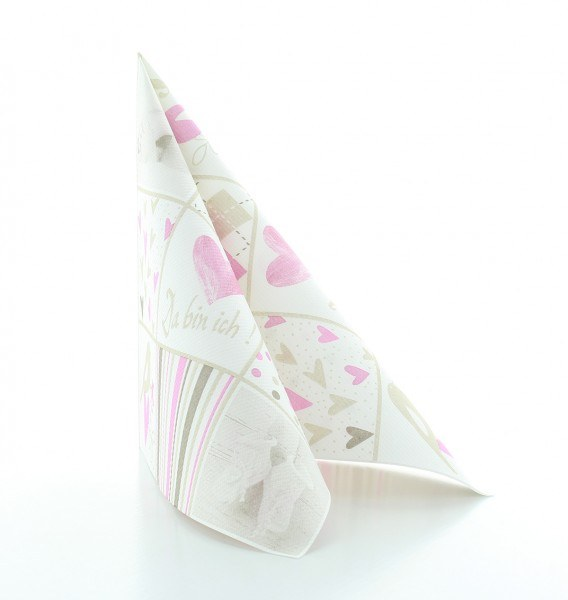 Serviette Baby in Rosa-Weiß aus Linclass® Airlaid 40 x 40 cm, 12 Stück