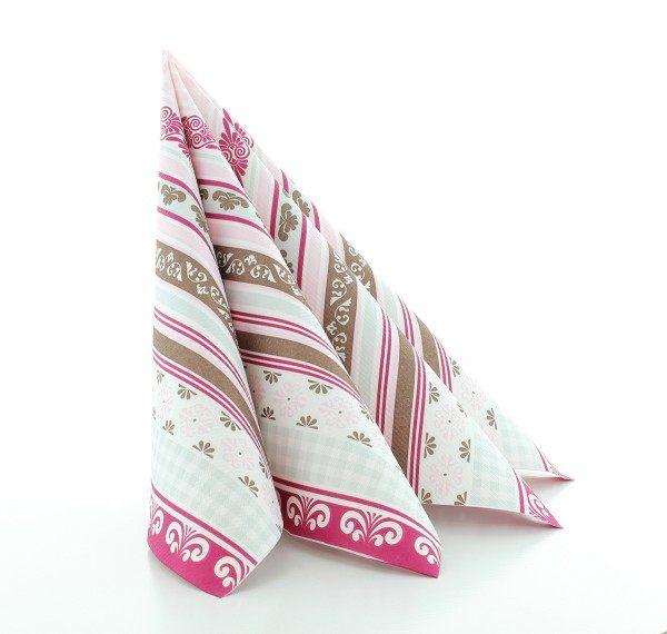 Serviette Jule in Braun-Rosa aus Linclass® Airlaid 40 x 40 cm, 12 Stück