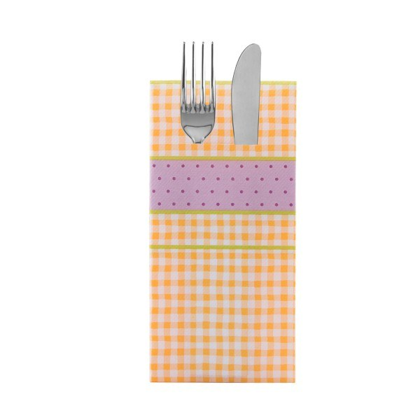 Besteckserviette Vichy in curry aus Linclass® Airlaid 40 x 40 cm, 100 Stück