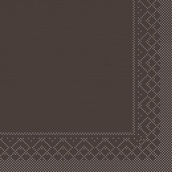Serviette Braun aus Tissue 33 x 33 cm, 20 Stück