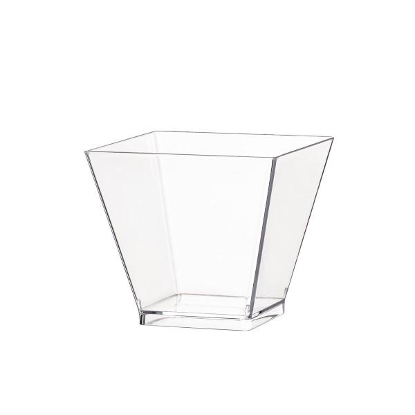 Einweg-Fingerfood Becher aus Plastik, quadratisch, 50 ml, Transparent, 60 Stück