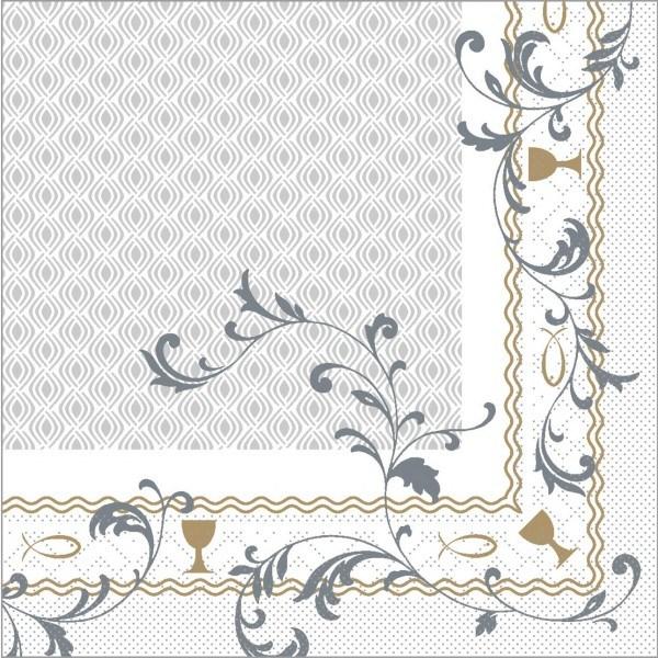Serviette Taufe in silber-gold aus Tissue 33 x 33 cm, 100 Stück