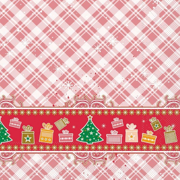 Serviette Joy in Rot aus Tissue 33 x 33 cm, 20 Stück